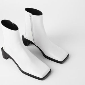 ZARA HEELED LEATHER SQUARE TOE ANKLE BOOTS